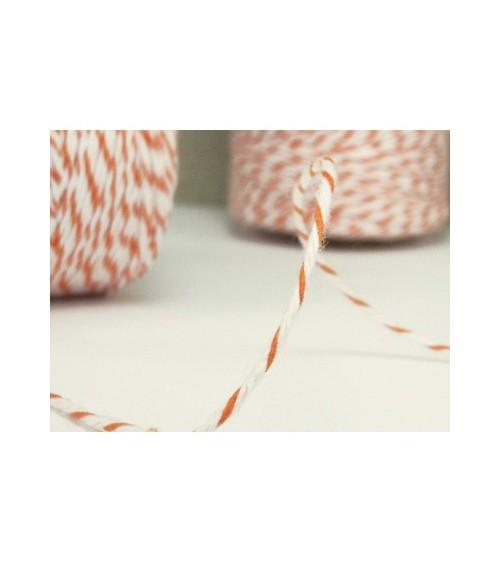 "1m zweifarbige Kordel ""Bakers Twine"" weiß/orange"