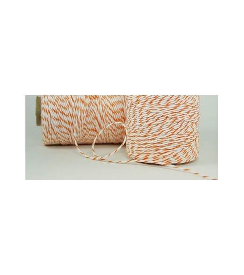 "1 Rolle zweifarbige Kordel ""Bakers Twine"" weiß/orange (220m)"