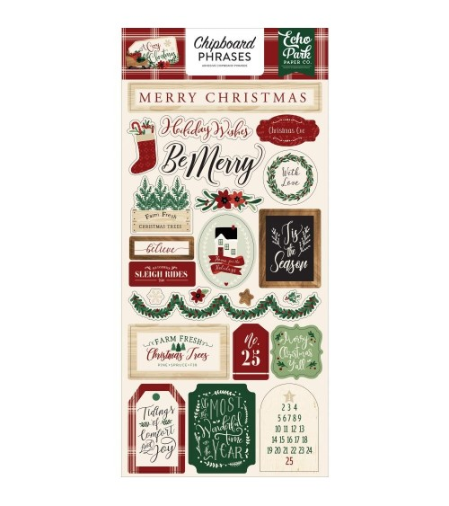 Echo Park - A Cozy Christmas - Chipboard Phrases