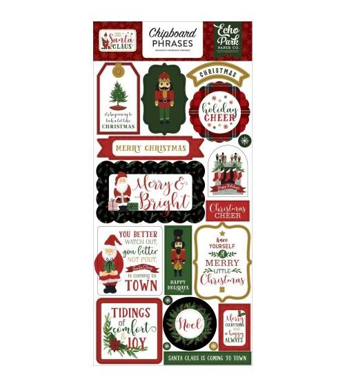 Echo Park - Here Comes Santa Claus - Chipboard Phrases