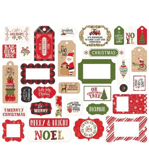 Echo Park - My Favorite Christmas - Ephemera Die Cuts Frames & T