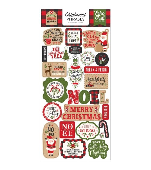 Echo Park - My Favorite Christmas - Chipboard Phrases