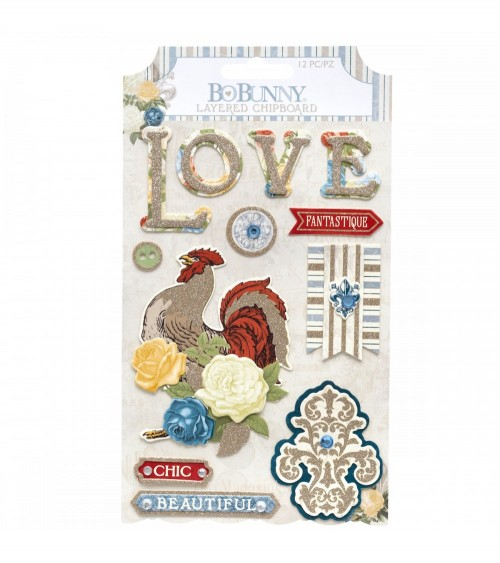 Bo Bunny - Boulevard - Layered Chipboard Sticker