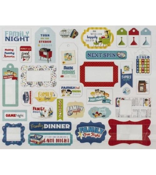 Carta Bella - Family Night - Ephemera Die Cuts Frames & Tags