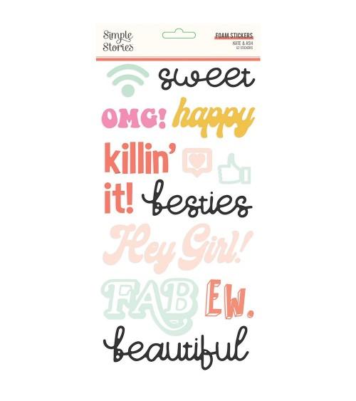 Simple Stories - Kate & Ash - Foam Stickers