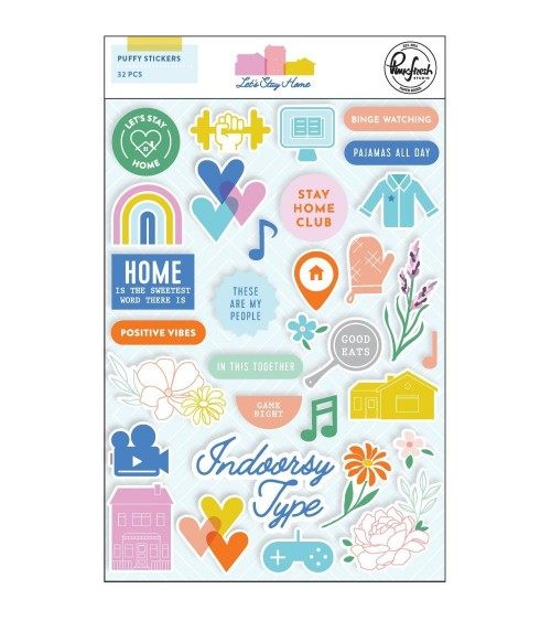 "Pinkfresh Studio - Let's Stay Home - Puffy Sticker 5x7"""