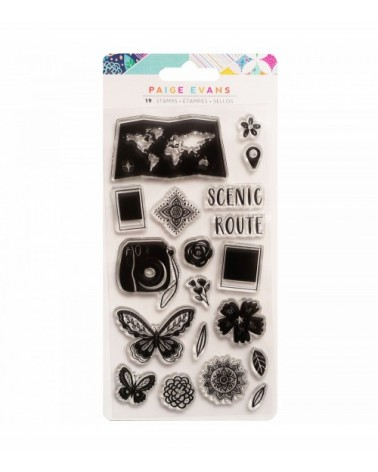 Pink Paislee - Paige Evans Go the Scenic Route - Clear Stamps