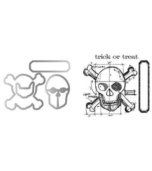 Sizzix Framelits + Tim Holtz Cling Stamps - Skull Blueprint