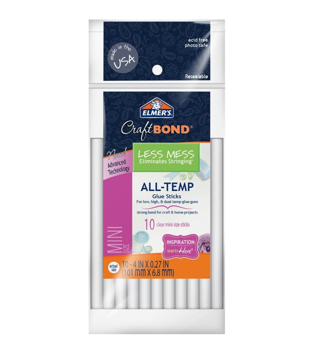 "Elmer's CraftBond All-Temp Less Mess Mini Glue Sticks 4"" 10/Pkg"