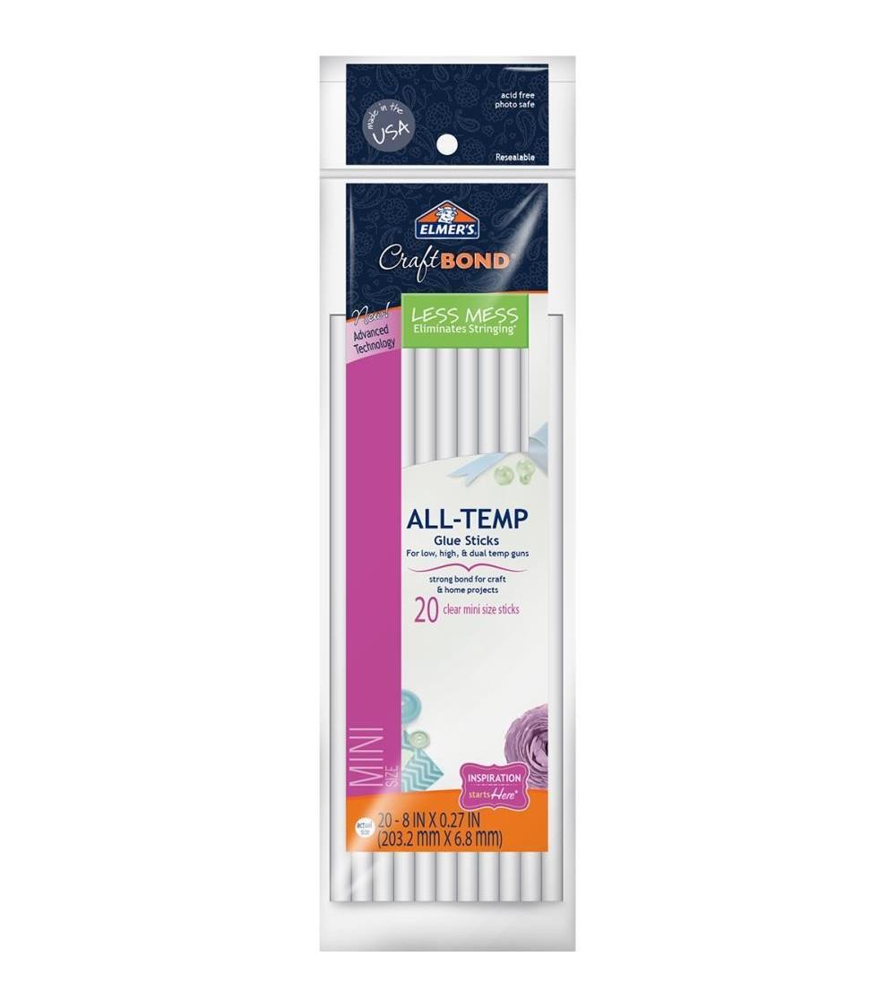 "Elmer's CraftBond All-Temp Less Mess Mini Glue Sticks 8"" 20/Pkg"