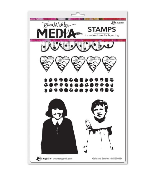 Ranger - Dina Wakley Cling Stamps - Gals & Borders