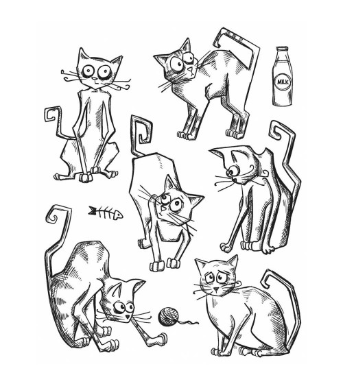 Stampers Anonymous - Tim Holtz Cling Stamps - Crazy Cats