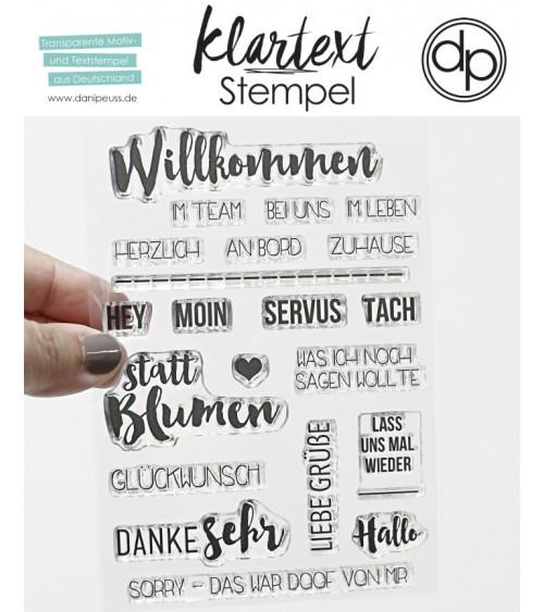 "Klartext-Stempelset A6 ""Willkommen"""