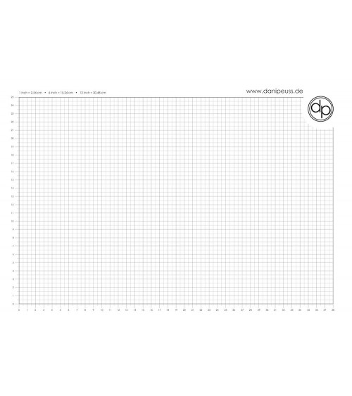 dp Schreib-/Stempelunterlage - A3 Block (50 Blatt) - cm Grid