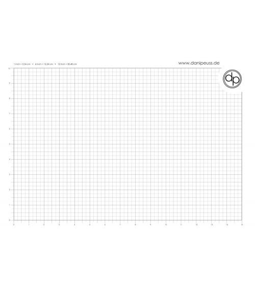 dp Schreib-/Stempelunterlage - A3 Block (50 Blatt) - inch Grid