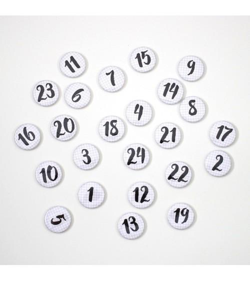 Klartext - Adventskalender Buttons/Badges - Set 1 kariert
