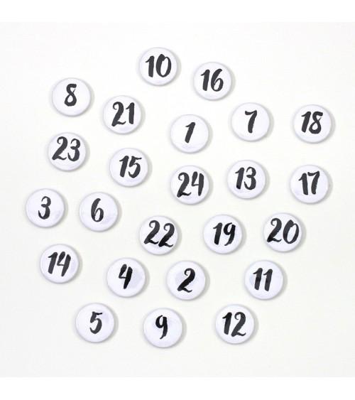 Klartext - Adventskalender Buttons/Badges - Set 4 weiß