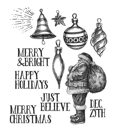 Stampers Anonymous - Tim Holtz Cling Stamps - Festive Sketch