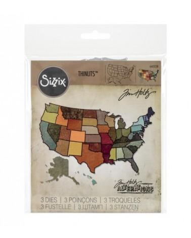 Sizzix - Tim Holtz - Thinlits Dies - United States Map