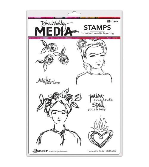 Ranger - Dina Wakley Cling Stamps - Homage To Frida