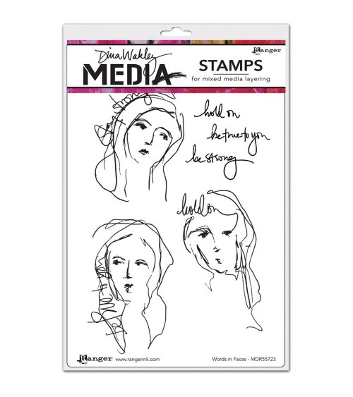 Ranger - Dina Wakley Cling Stamps - Words In Faces