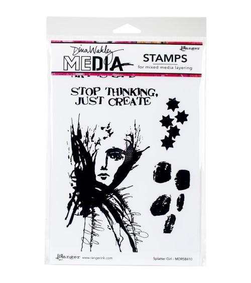 Ranger - Dina Wakley Cling Stamps - Splatter Girl