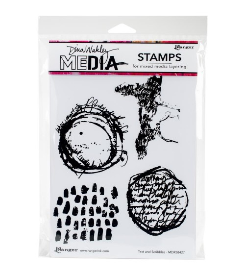 Ranger - Dina Wakley Cling Stamps - Text & Scribbles