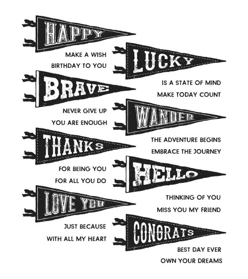 Stampers Anonymous - Tim Holtz Cling Stamps - Pennants
