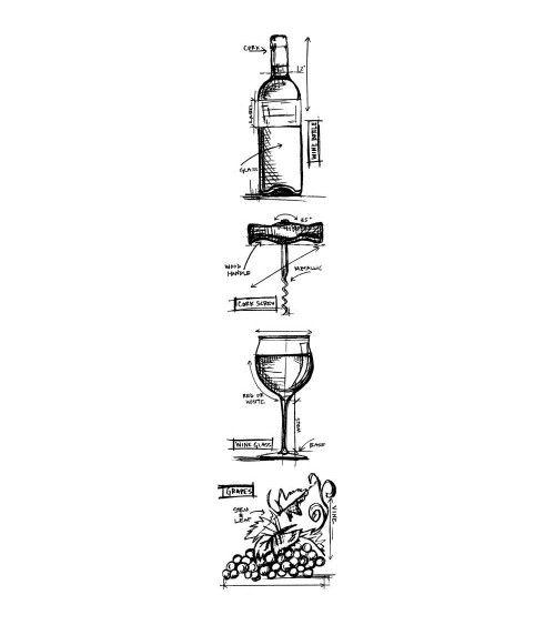 Tim Holtz - STRIP Cling Stamps - Mini Blueprints Wine