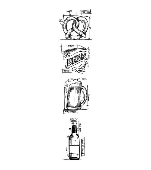 Tim Holtz - STRIP Cling Stamps - Mini Blueprints Beer