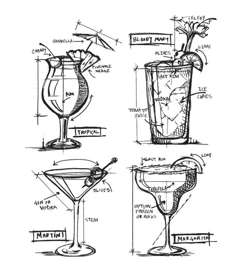 Stampers Anonymous - Tim Holtz Cling Stamps - Cocktails Blueprin