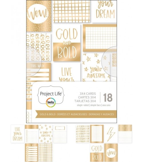 Project Life - Themed Cards 18-pack - Gold & Bold 3x4""