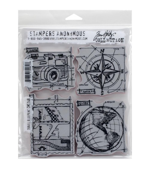 Stampers Anonymous - Tim Holtz Cling - Travel Blueprints