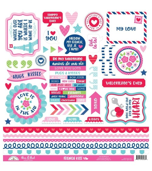 Doodlebug - French Kiss - This & That Cardstock Stickers