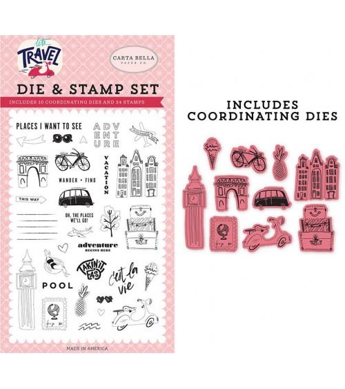 Carta Bella Paper - Let's Travel Die&Stamp Set Adventure Begins