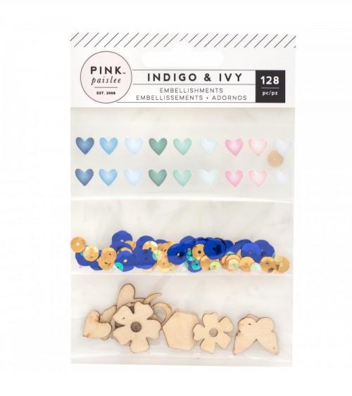 Pink Paislee - Indigo and Ivy - Sequins & Wood Veneers