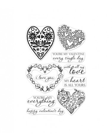 Hero Arts - Clear Stamps - All My Love Decorative Hearts