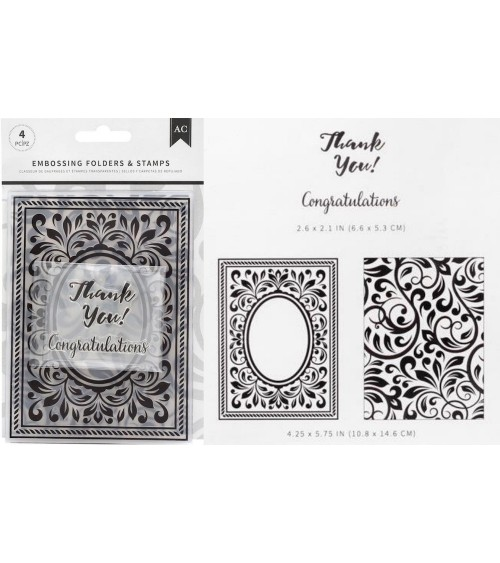 AC - Embossing Folder + Stamps Set - Congratulations Flourish