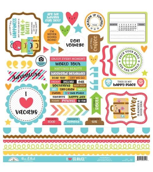"Doodlebug - I Heart Travel - Cardstock Stickers 12x12"""