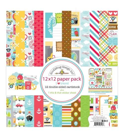 "Doodlebug - I Heart Travel - 12x12"" Paper Pack Collection Kit"