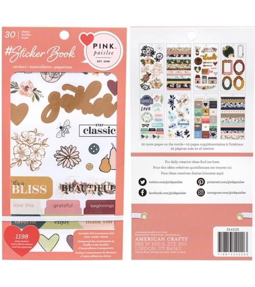 AC - Designer  Sticker Book Gold Foil - Pink Paislee