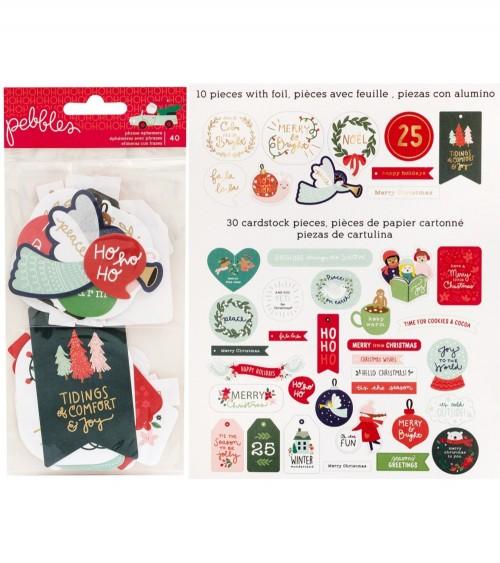 Pebbles - Merry Little Christmas - Phrase Ephemera Pack