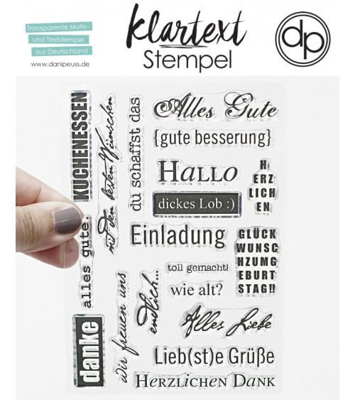 "Klartext-Stempelset A6 ""Kartengruß"""
